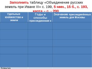 Заполнить таблицу «Объединение русских земель при Иване III» с. 199, 5 мин.,