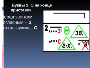 Буквы З, С на конце приставок Перед звонким согласным – З, перед глухим – С.