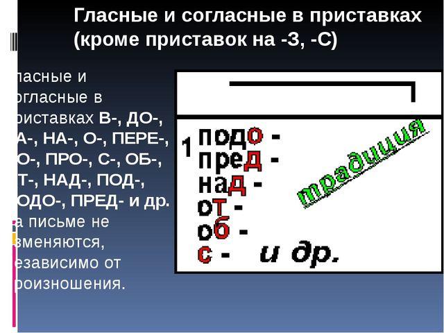 Гласные и согласные в приставках (кроме приставок на -З, -С) Гласные и соглас...