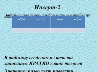 Инсерт-2 Задание: записать информацию в таблицу В таблицу сведения из текста