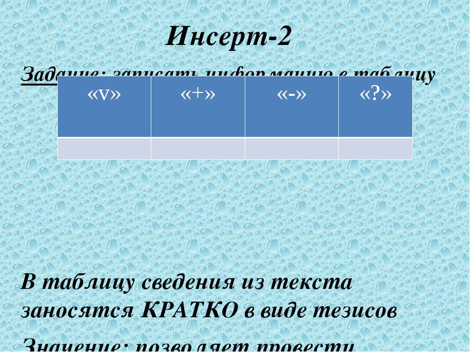 Инсерт-2 Задание: записать информацию в таблицу В таблицу сведения из текста...