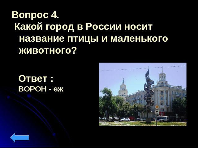 Вопрос 4. Какой город в России носит название птицы и маленького животного? О...