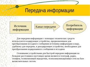 Передача информации Источник информации Потребитель информации Канал передачи