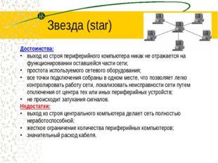 Звезда (star) Достоинства: выход из строя периферийного компьютера никак не о