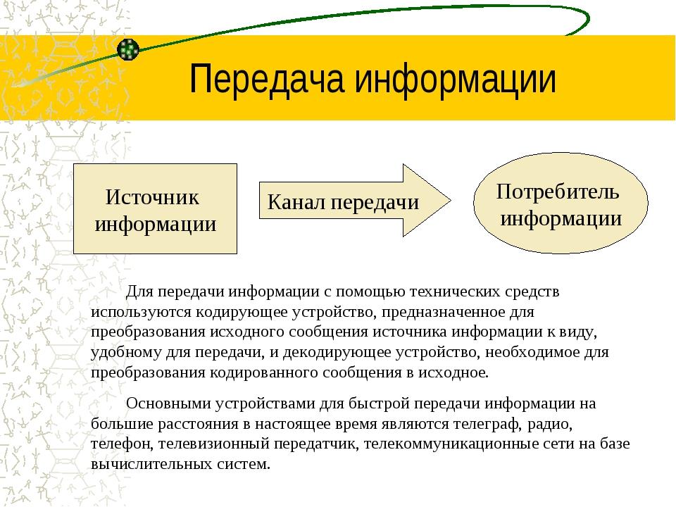 Передача информации Источник информации Потребитель информации Канал передачи...