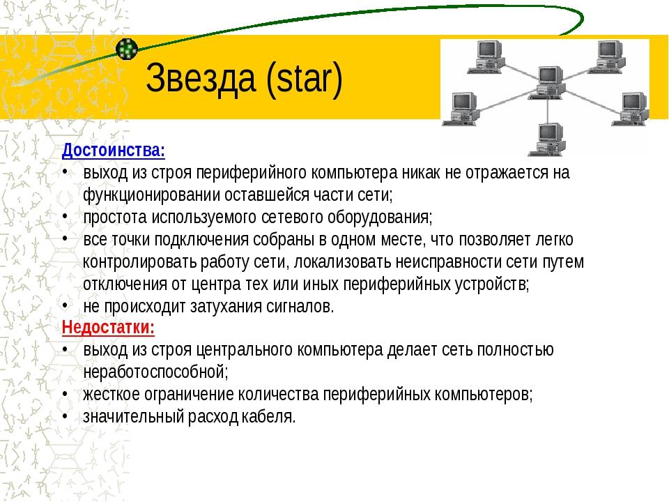 Звезда (star) Достоинства: выход из строя периферийного компьютера никак не о...
