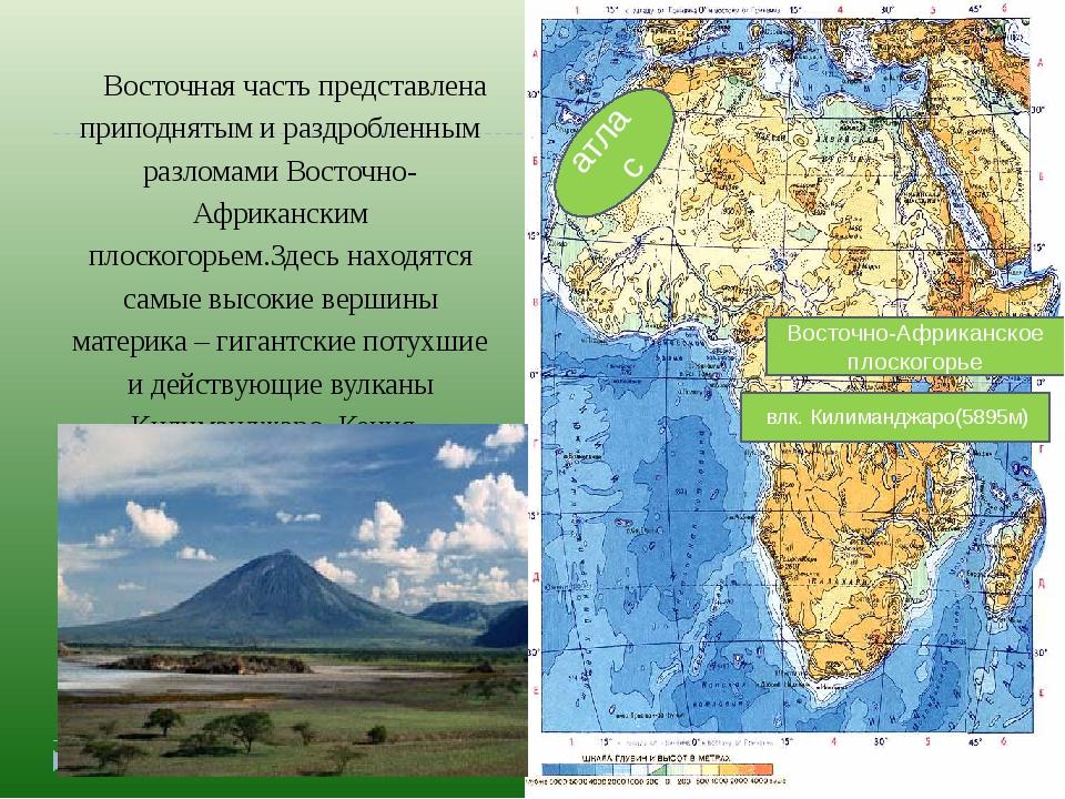 атлас Восточно-Африканское плоскогорье Восточная часть представлена приподнят...