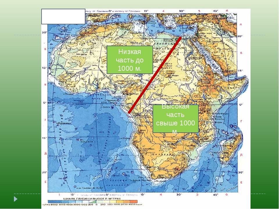 АФРИКА Низкая часть до 1000 м. Высокая часть свыше 1000 м.