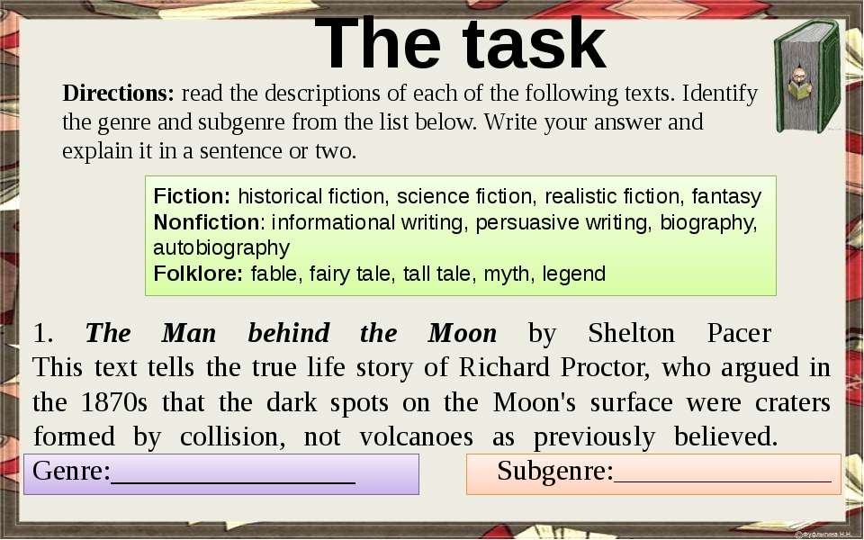 The task Directions: read the descriptions of each of the following texts. I...