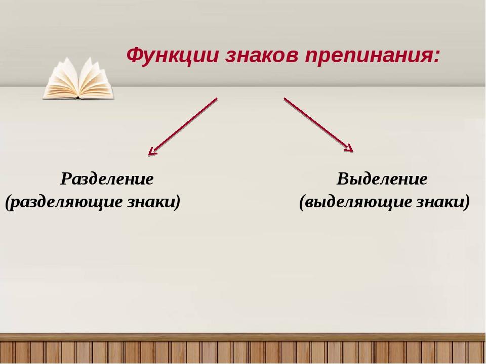 Функции знаков препинания: Разделение (разделяющие знаки) Выделение (выделяющ...