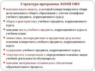 Структура программы АООП ОВЗ пояснительную записку, в которой конкретизируютс