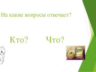 На какие вопросы отвечает? Кто? Что?
