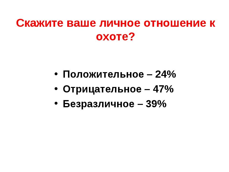 Скажите ваше личное отношение к охоте? Положительное – 24% Отрицательное – 47...