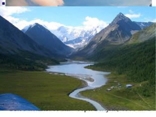Высочайшая точка – гора Белуха, 4506 м Кучерлинское озеро,(Восточный Алтай),