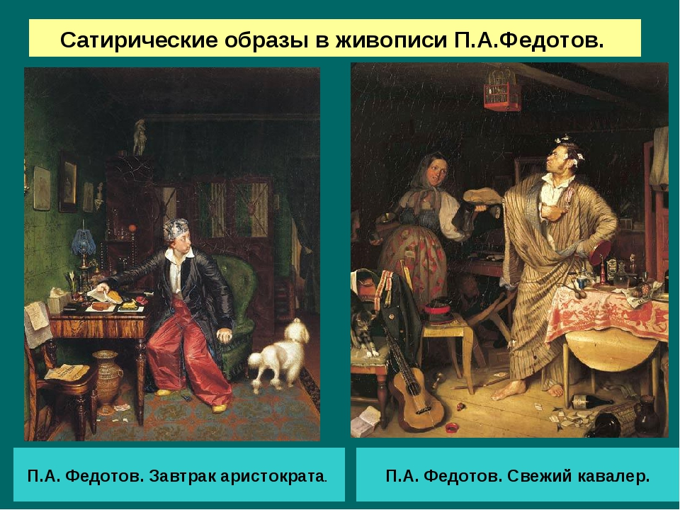 Сатирические образы в живописи П.А.Федотов. П.А. Федотов. Завтрак аристократа...