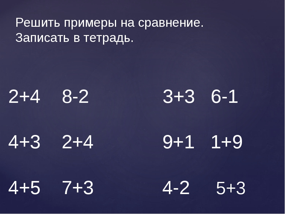 2+4 8-2 3+3 6-1 4+3 2+4 9+1 1+9 4+5 7+3 4-2 5+3 Решить примеры на сравнение....