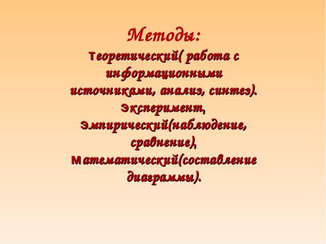 Методы: теоретический( работа с информационными источниками, анализ, синтез)....