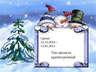 Сроки: 12.12.2014 – 13.01.2015 Тип проекта: краткосрочный