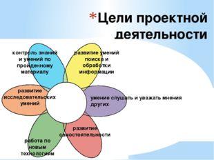 Цели проектной деятельности контроль знаний и умений по пройденному материалу