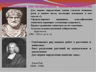 1. Развитие эволюционных идей в биологии Аристотель (384 – 322 гг. до н. э.)