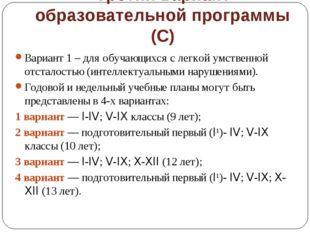 Третий вариант образовательной программы (С) Вариант 1 – для обучающихся с ле