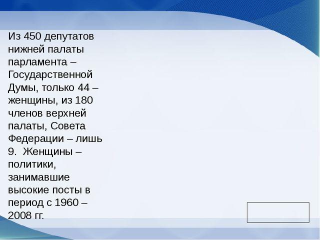 Из 450 депутатов нижней палаты парламента – Государственной Думы, только 44 –...