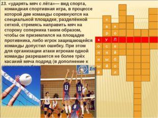 13. «ударять мяч с лёта»— вид спорта, командная спортивная игра, в процессе
