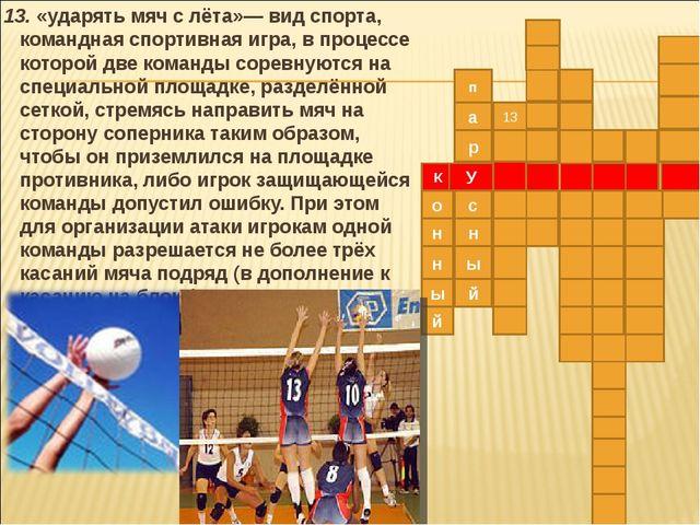 13. «ударять мяч с лёта»— вид спорта, командная спортивная игра, в процессе...
