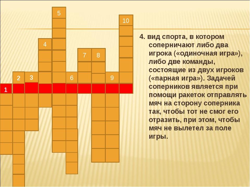 4. видспорта, в котором соперничают либо два игрока («одиночная игра»), либо...