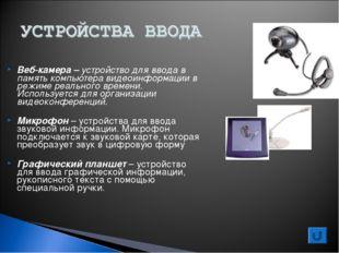 Веб-камера – устройство для ввода в память компьютера видеоинформации в режим