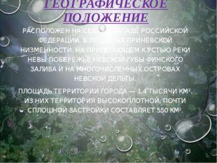 ГЕОГРАФИЧЕСКОЕ ПОЛОЖЕНИЕ РАСПОЛОЖЕН НА СЕВЕРО-ЗАПАДЕ РОССИЙСКОЙ ФЕДЕРАЦИИ, В