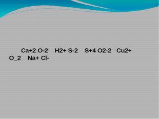 Ca+2 O-2  H2+ S-2  S+4 O2-2  Cu2+ O_2  Na+ Cl-