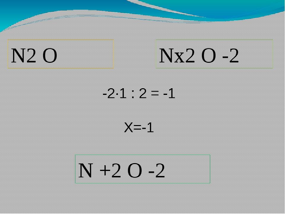 N2 O Nх2 O -2 -2∙1 : 2 = -1 Х=-1 N +2 O -2 Пример определения С.О., запись в...