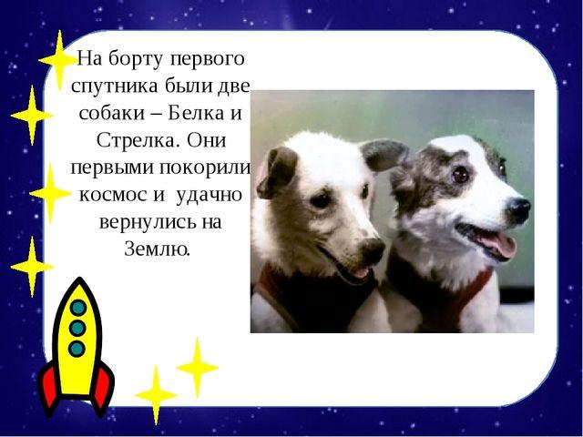 На борту первого спутника были две собаки – Белка и Стрелка. Они первыми поко...
