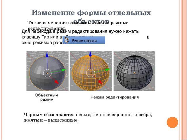 Изменение формы отдельных объектов Такие изменения возможны лишь в режиме ред...