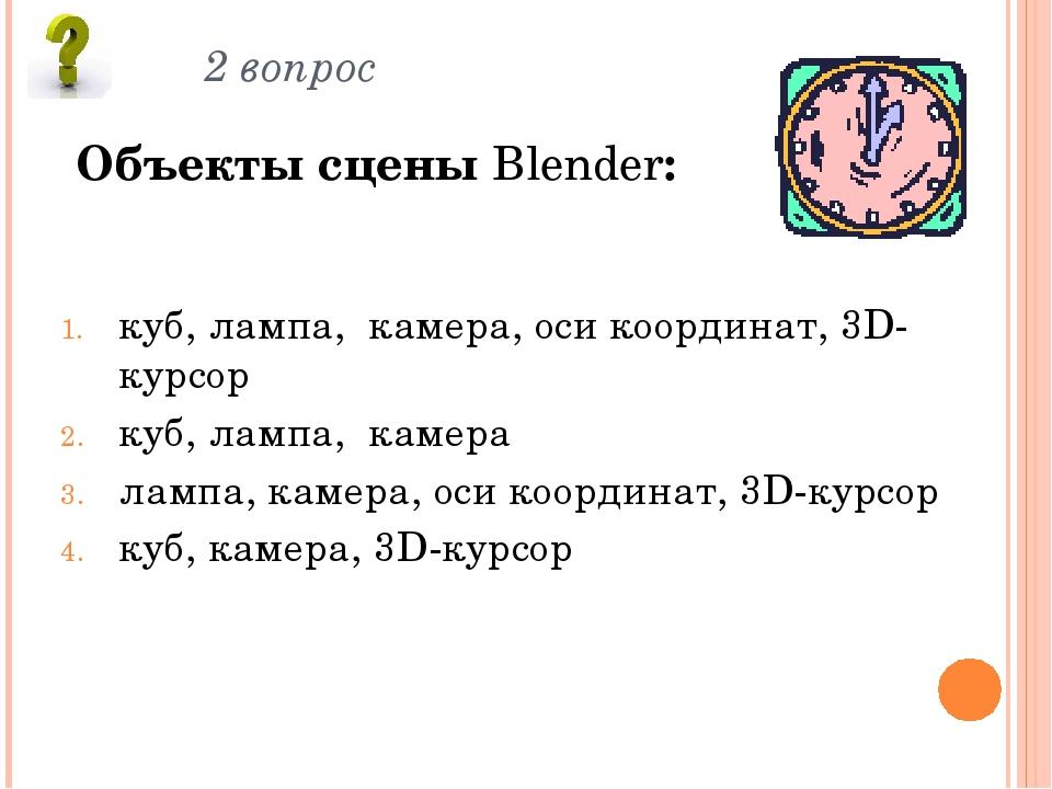 2 вопрос Объекты сцены Blender: куб, лампа, камера, оси координат, 3D-курсор...
