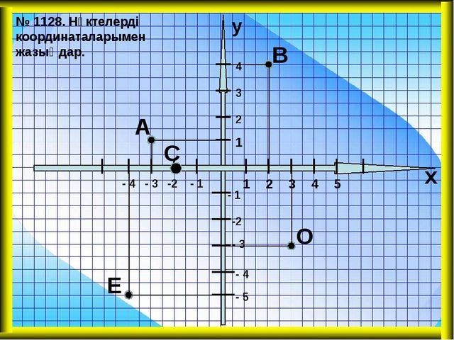 А В С Е О 1 1 2 2 3 3 4 4 5 - 1 - 1 -2 -2 - 3 - 3 - 4 х у - 5 - 4 № 1128. Нү...