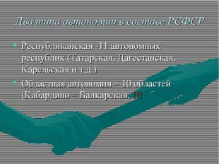 Два типа автономии в составе РСФСР Республиканская -11 автономных республик (