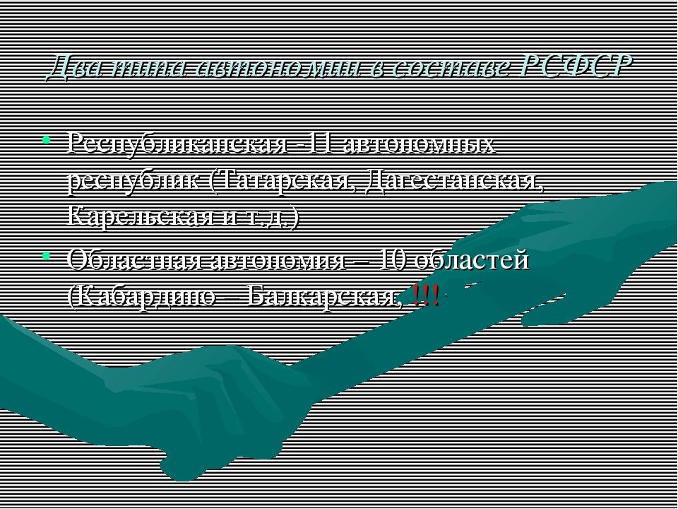 Два типа автономии в составе РСФСР Республиканская -11 автономных республик (...