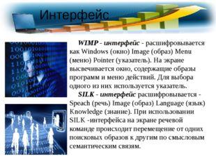 WIMP - интерфейс - расшифровывается как Windows (окно) Image (образ) Menu (м
