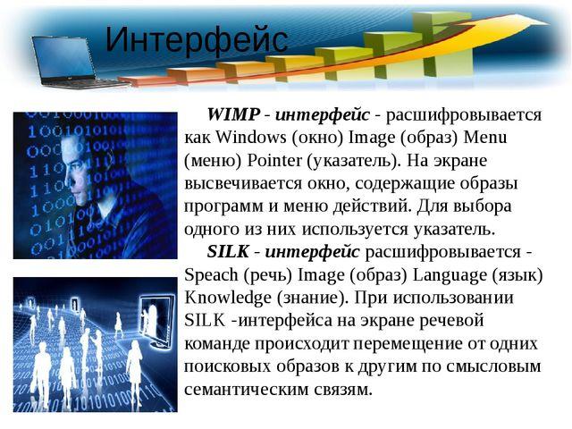 WIMP - интерфейс - расшифровывается как Windows (окно) Image (образ) Menu (м...