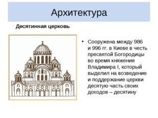 Архитектура Десятинная церковь Сооружена между 986 и996гг.в Киеве вчесть