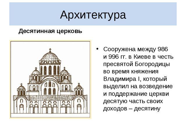 Архитектура Десятинная церковь Сооружена между 986 и996гг.в Киеве вчесть...