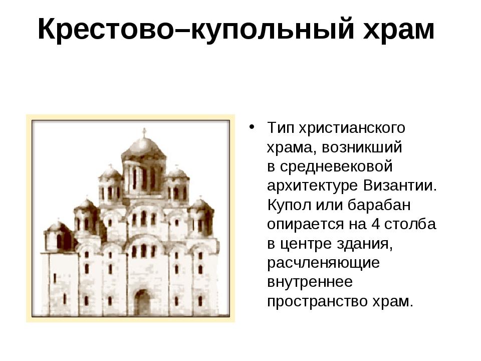 Крестово–купольный храм Тип христианского храма, возникший всредневековой ар...
