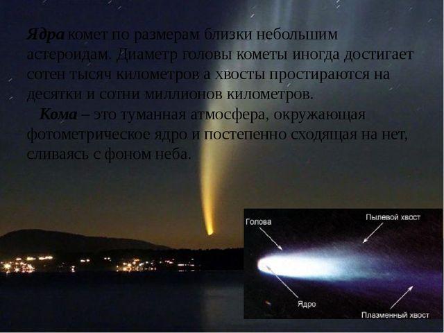 Ядра комет по размерам близки небольшим астероидам. Диаметр головы кометы ино...