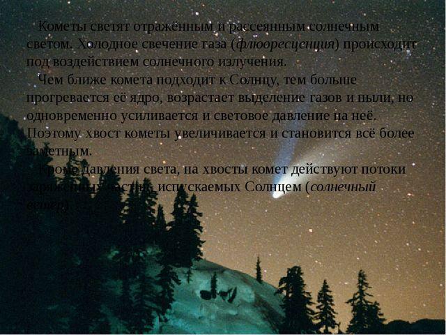 Кометы светят отражённым и рассеянным солнечным светом. Холодное свечение га...