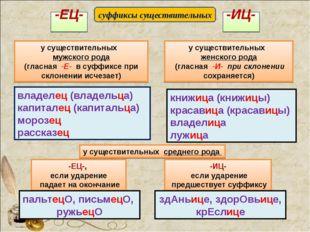 -ИЦ- -ЕЦ- у существительных мужского рода (гласная -Е- в суффиксе при склонен
