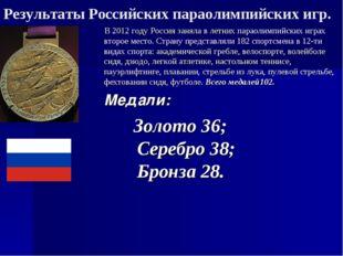 Результаты Российских параолимпийских игр. В 2012 году Россия заняла в летних