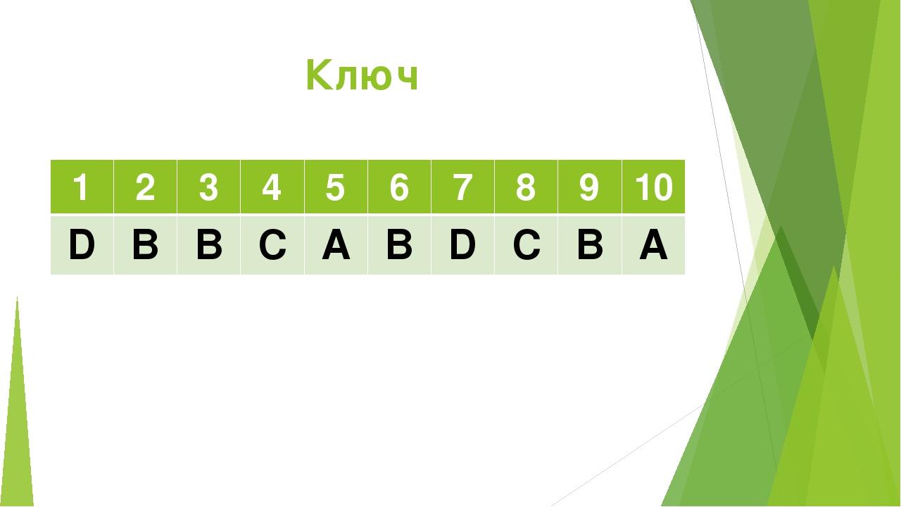 Ключ 1 2 3 4 5 6 7 8 9 10 D B B C A B D C B A