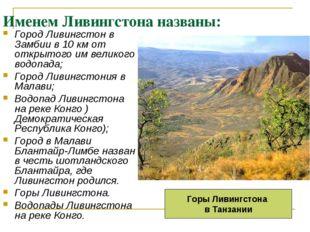 Именем Ливингстона названы: Город Ливингстон в Замбии в 10 км от открытого им